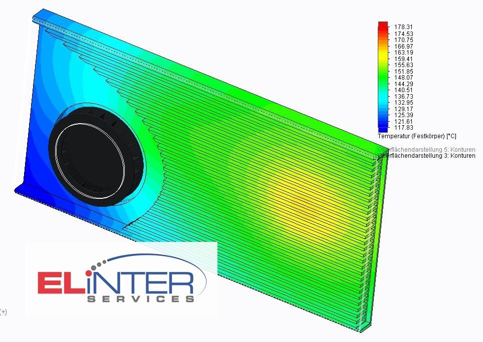 Elinter AG Kühlkörper design Aktiv Kühlung Fan heatsink CFD Dienstleistung Thermische Simulation